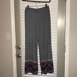 Palazzo pants with red white and blue print